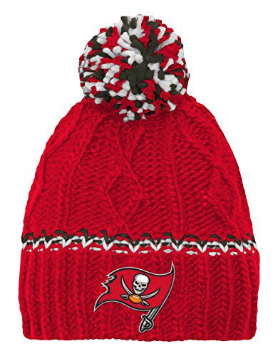 (Outerstuff NFL Girls 7-16 Cable Knit Rib Cuffless Hat-Red-1 Size, Tampa Bay Buccaneers)