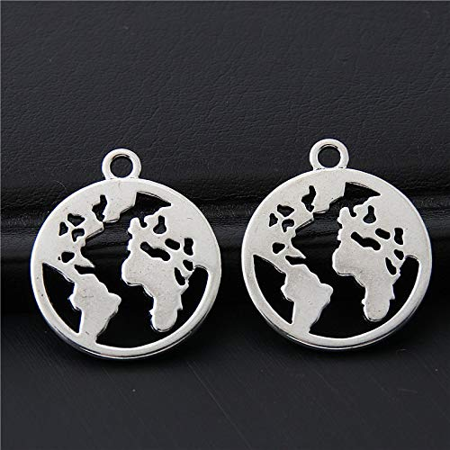 Antique Silver Vintage World Map | Charms Earth Travel Pendant | Making Necklaces Bracelet Jewelry Supplies 18x21mm from Batop