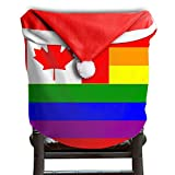 4 Pcs Canada Rainbow Flag Christmas Chair Back Cover Red Hat Chair Back Covers Santa Hat