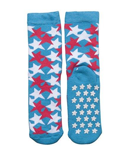 SLIPPER NON SKID SOCKS | KIDS ANTI SLIP COTTON SOCKS WITH STARS | ITALIAN HOSIERY | (USA: 7/11 = EU: 24/28, FUXIA) by CALZITALY (Image #2)