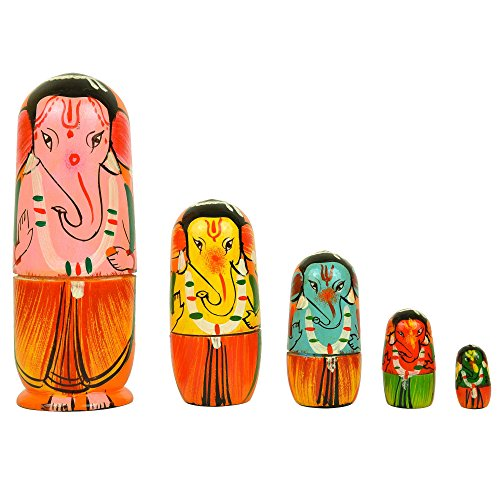 Fine Craft India Set of 5Piece Hand Painted Religious Lord Ganesha Wooden Indian God Figurine Collectible Dolls Best Gifts Ideas and Perfect for Room Decoration (Doll Wood Vintage)