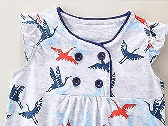 Bumeex Little Girls Cotton Casual Cartoon Print Short Sleeve Skirt Dresses