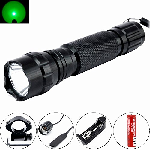 Comunite Portable Green Light 501B XM-L T6 Tactical Led Flashlight 250 Yard Long Range Hunting Light Torch with Remote Pressure Switch Barrel Mount 18650 Rechargeable battery and Charger