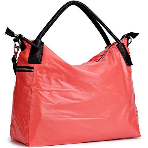 JOYSON Women Handbags Waterproof Nylon Tote Shoulder Hobo Bag Big Zipper Pinkish Orange