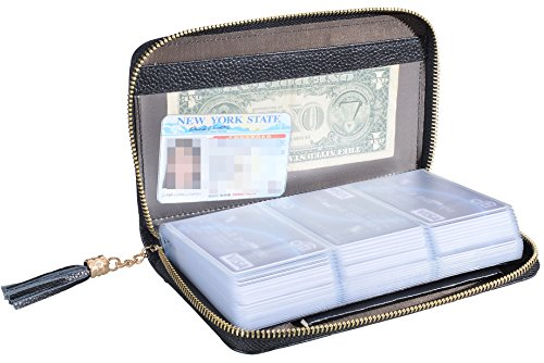 Easyoulife Credit Card Holder Wallet Womens Zipper Leather Case Purse RFID Blocking (Black) - Bag Credit Card Wallet Holder