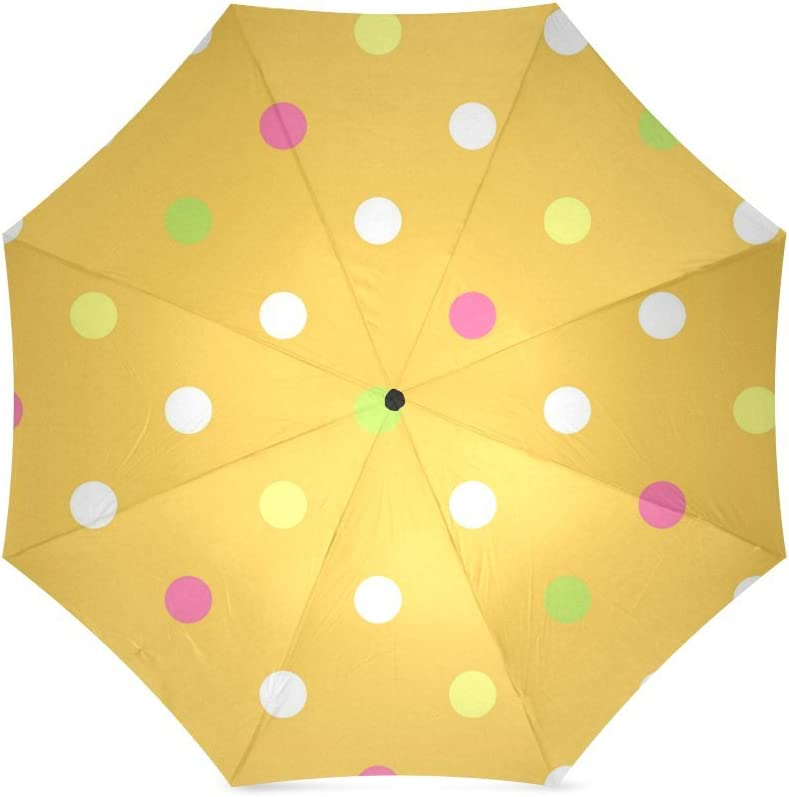 Custom Multi colored polka dots Compact Travel Windproof Rainproof Foldable Umbrella