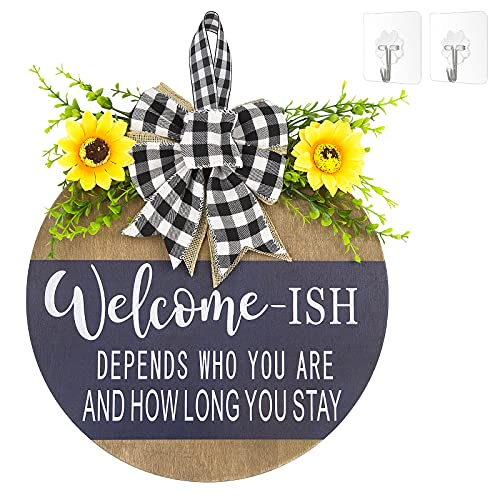 Welcome Sign Front Door Decor Restaurant home outdoor porch home decoration,Wood 12Inch,New Year,Christmas, Easter…