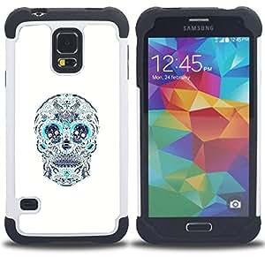 - SKULL TEAL WHITE PATTERN FLORAL DEATH - - Doble capa caja de la armadura Defender FOR Samsung Galaxy S5 I9600 G9009 G9008V RetroCandy