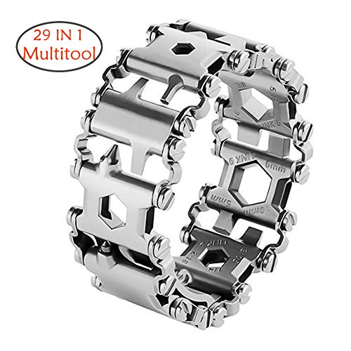 CyberDyer Multitool Bracelet 29 in 1 Outdoor Emergency Bracelet Watch Band Screwdriver Original Friendly Wearable Wilderness Bracelet for Sailing Travel Camping Hiking (Silver Bracelet)