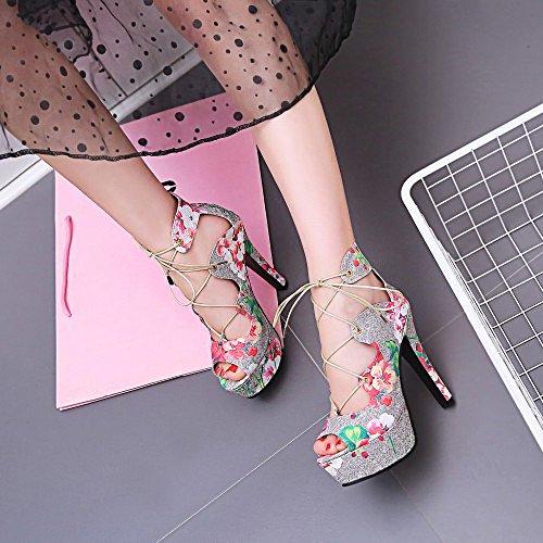 Toe Sur Fleurs Haute Mariage forme Extreme Slip Dress Plate Party Femmes Pink Chaussures Pompes Peep Stiletto WIqHYOWw