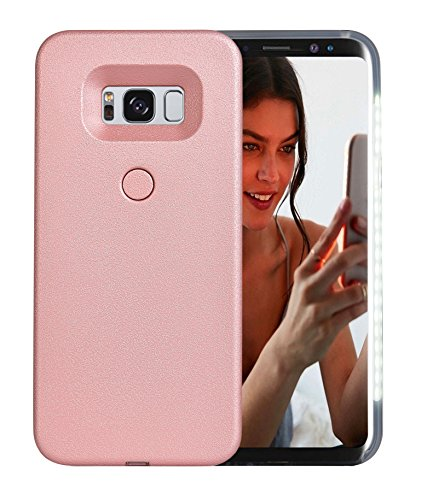 Galaxy S8 Plus Case, AUYOUWEI LED Illuminated Selfie Light Case Cover [Rechargeable] Light Up Luminous Selfie Flashlight Cell Phone Case for Samsung S8+/ Plus (Rose Gold)