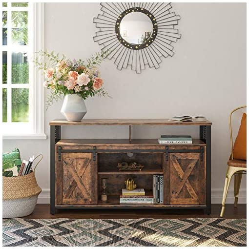 Farmhouse Living Room Furniture VASAGLE TV Cabinet for 55-inch TVs with Sliding Barn Doors, Entertainment Center and Media Console, TV Stand with… farmhouse tv stands