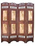 Old World Map Room Divider Screen 4 Panel Wooden Frame