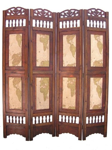 Amazoncom Old World Map Room Divider Screen 4 Panel Wooden Frame