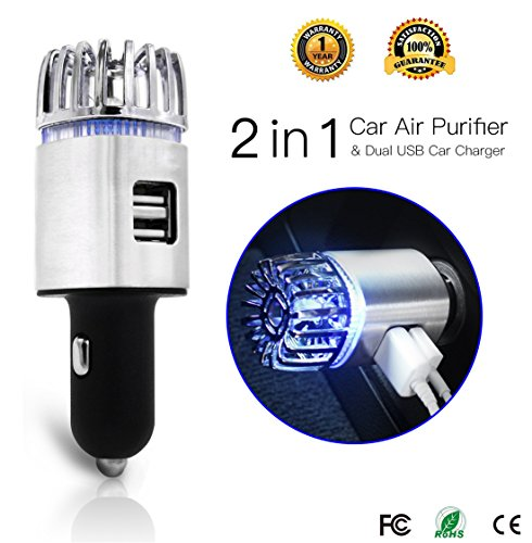 Car Air Purifier, Exemplife Freshener Adapter with 2 USB Ports,Car Air Ionizer Remove Smoke, Bad Smell and Odors,Keep The Air in Car Fresh,Silver
