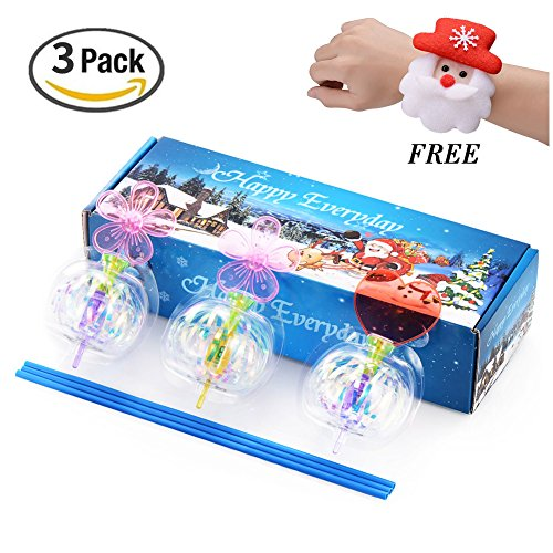 Xosoy LED Spinning Toys, Colorful Christmas Bubble , Magic Spin Sparking Spindle, Best Christmas Gifts for kids, Perfect For Kids Party Favors, 3 Packs Set With One Free Christmas Wristband Gift (Christmas Present Bubbles)