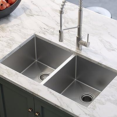 Kraus Standard Pro 33 Inch 16 Gauge Undermount 50 50 Double Bowl Stainless Steel Kitchen Sink Khu102 33 Amazon Com