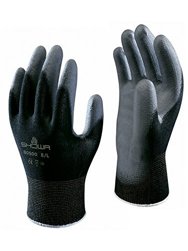 SHOWA BO500B Polyurethane Palm Coating Glove with Nylon Liner, Black, Medium (Pack of 12 Pairs)