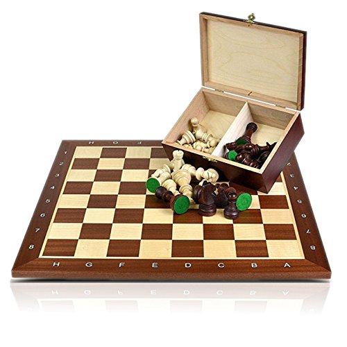 Schach Set Nr. 5 Mahagoni - Schachbrett 5 + Schachfiguren Staunton 5 + Koffer - Schachspiel aus Holz