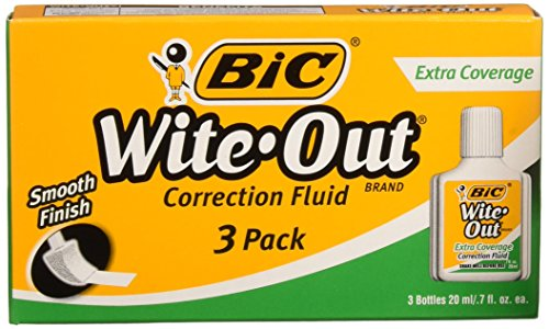Super Smooth Correction Fluid (BIC WOFEC324 Wite-Out Brand Extra Coverage Correction Fluid, 20 ml, White, 3-Count)