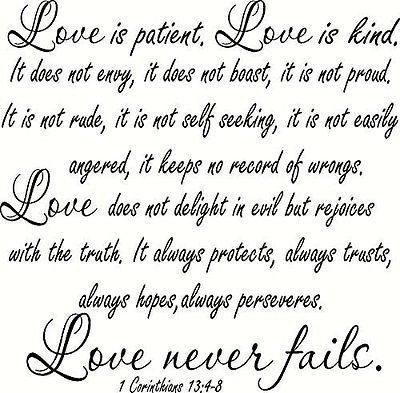 1 Corinthians 13:4-8 V2 Large Size, Bible Verse Wall Decal, Love, Patient Kin