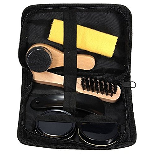 Teanfa 6 In 1 Black Neutral Shoe Shine Polish Cleaning Brushes Travel Leather Shoe Care Set Kit by Teanfa (Image #2)