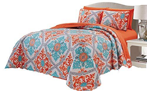 Micasa 7 Piece Oversized Reversible Bedpsread Quilt Set with Complete Sheet Set Orange Turquoise Floral Mandala Design (King) from Micasa