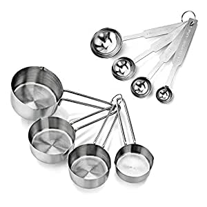 New Star Foodservice 42917 Stainless Steel 4pcs Measuring Cups and Spoons Combo Set