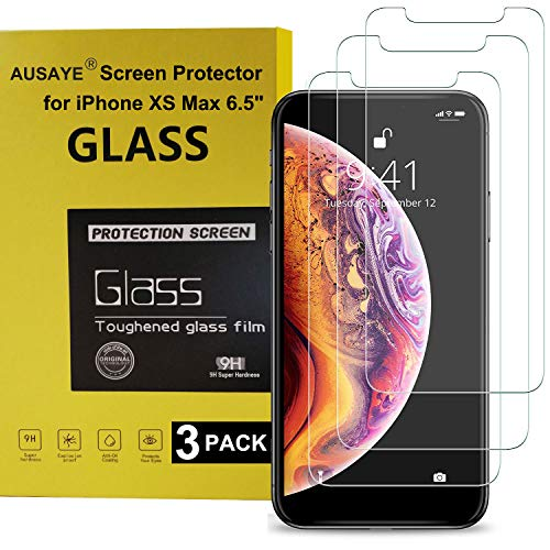 3 Pack for iPhone Xs Max Screen Protector Glass HD Clear, AUSAYE Ultra Thin 0.26mm Tempered Glass Screen Protector for iPhone Xs Max Anti-Scratch Case ()