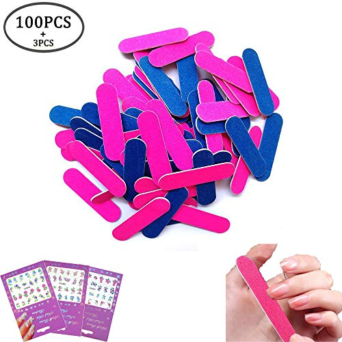 Sticker Nail File - 100 Pack Disposable Nail Files Double Sided Emery Boards Grit 100/240 Mini Nail File Manicure Tools,3 Sheet Nail Art Stickers Flower