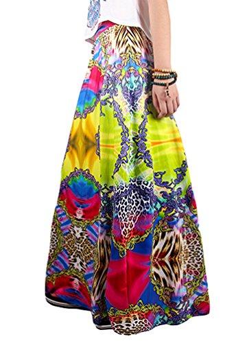 NiSeng Femmes Floral Imprim Maxi Jupe Bohmien Longueur Plage Jupe Et Rtro Jupe Style 9#