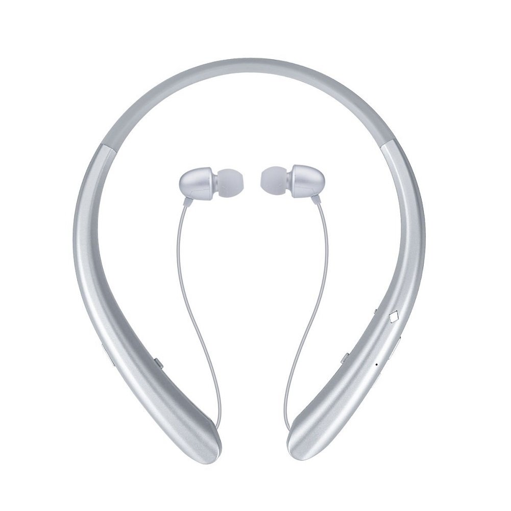 Bluetooth Headphones, Wireless Retractable Earbuds Neckband Headset SportS Sweatproof Earphones with Mic (2018 Upgraded Version, 15 Hours Play Time, Silver) by ZSW Tech