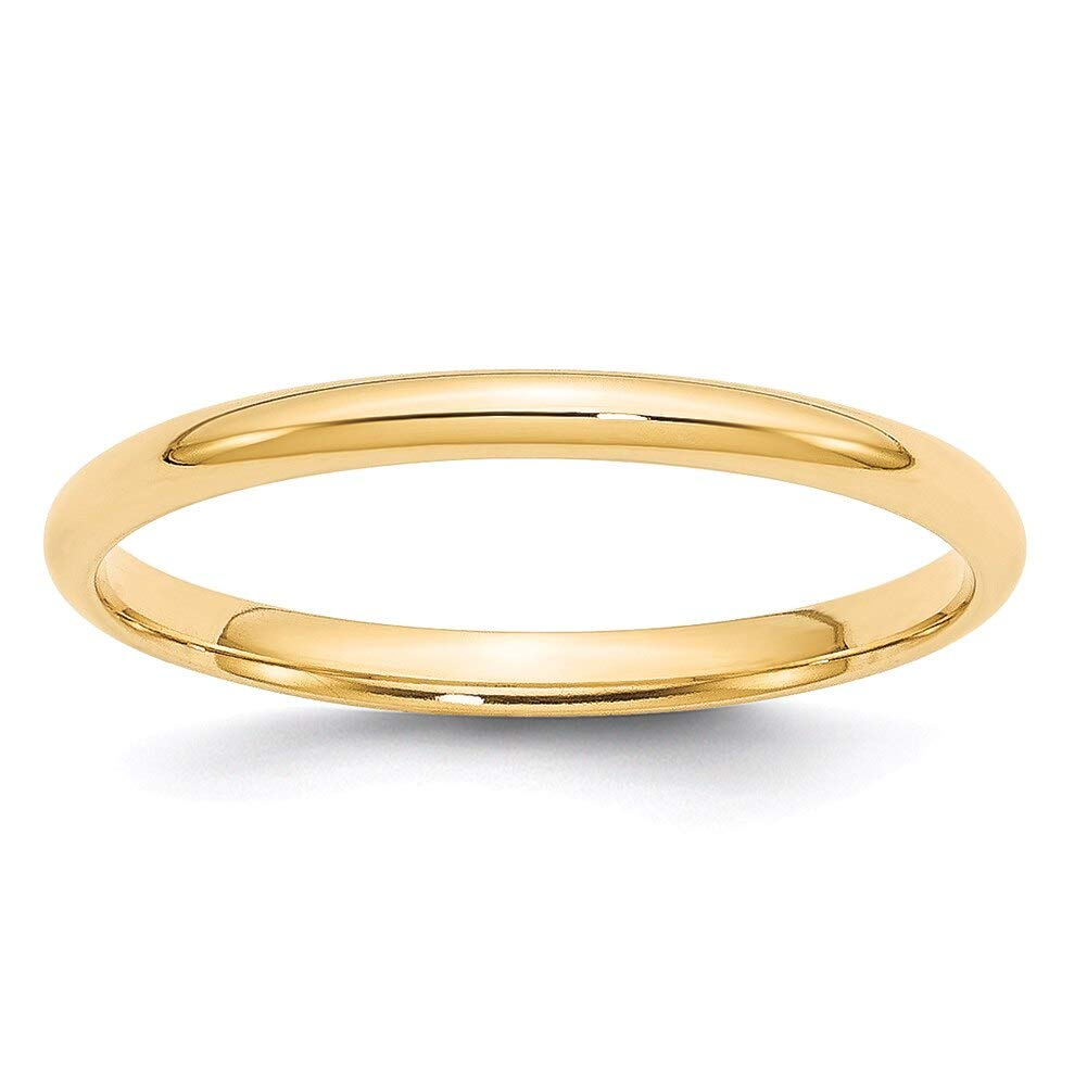 Lex & Lu 14k Yellow Gold 2mm LTW Comfort Fit Band Ring-Prime