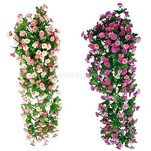 Fityle 2Pcs Artificial Daisy Flower Vines Wedding Home Party Decor 16