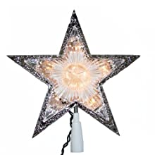 Kurt Adler 10-Light Laser Star Christmas Treetop, Clear