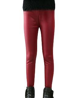 ZhuiKun Niñas Leggings Pantalones de Imitación de Cuero Lápiz Invierno Gruesos Elásticos…
