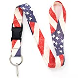 Buttonsmith Old Glory Flag Premium Lanyard with Buckle and Flat Ring - Made in USA