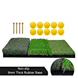 Tri-Turf Golf Hitting Mat, Portable Golf Grass Mat for Driving, Chipping Practice Training with Adjustable Tees and Foam Practice Balls, Ideal for Indoor or Outdoor Training