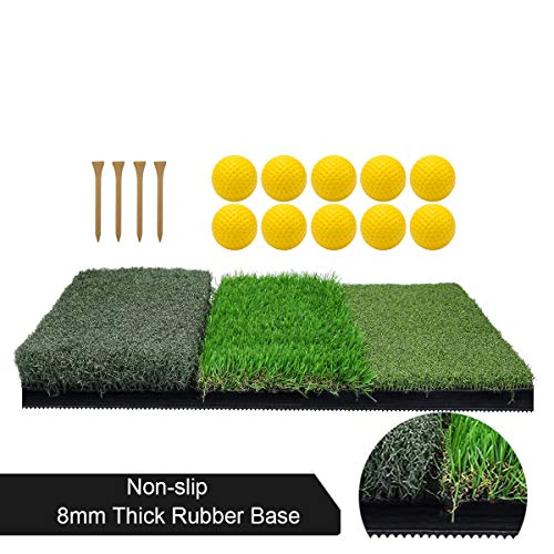 Tri-Turf Golf Hitting Mat, Portable Golf Grass Mat for Driving, Chipping Practice Training with Adjustable Tees and Foam Practice Balls, Ideal for Indoor or Outdoor Training (Grass Golf)