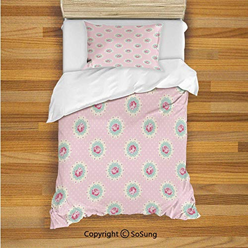 Shabby Chic Decor Kids Duvet Cover Set Twin Size, Retro Polka Dotted Backdrop and Floral Motifs Roses Cottage 2 Piece Bedding Set with 1 Pillow Sham,Baby Pink White Seafoam