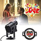 Suaoki DIY Projector Lights 30pcs Gobos LED Landscape Spotlight Lamp Waterproof with DIY Paper, 360° Rotation Image, Radiator for Valentine's Day Birthday Party Holiday Garden Decorations