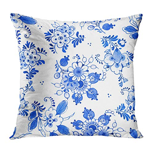 (TOMKEYS Throw Pillow Cover Antique Delft Blue Style Watercolour Traditional Dutch Floral Bouquets of Flowers Cobalt on White Decorative Pillow Case Home Decor Square 18x18 Inches Pillowcase)