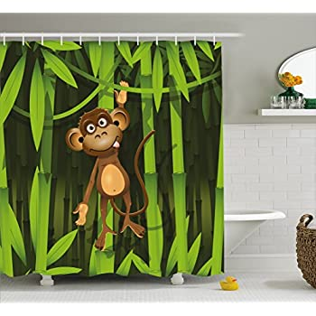 Jungle Decor Shower Curtain By Ambesonne, Wildlife Theme Illustration Of A  Cute Monkey In The Jungle Print , Fabric Bathroom Decor Set With Hooks, ...