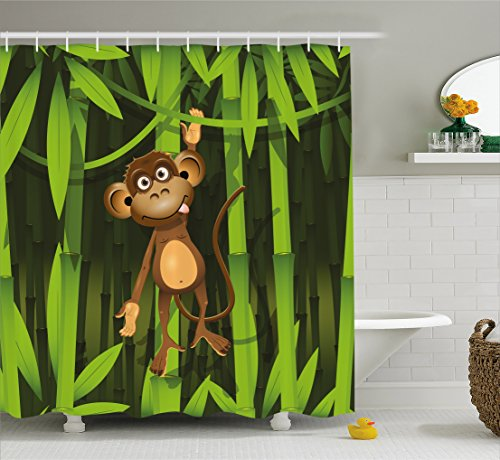Ambesonne Jungle Decor Shower Curtain, Wildlife Theme Illustration of a Cute Monkey in the Jungle Print, Fabric Bathroom Decor Set with Hooks, 70 Inches, Brown and Fern Green - Jungle Print Fabric
