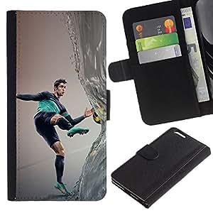 KLONGSHOP // Tirón de la caja Cartera de cuero con ranuras para tarjetas - Ronaldo Fútbol - Apple Iphone 6 PLUS 5.5 //