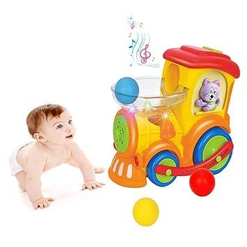 YGJT Centros de Actividades para Bebés Poner Huevos Coche de Juguetes Niños Pequeños 1-4 Años Tren Eléctrico Educativo Temprano de Música ...