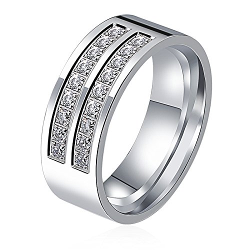 8MM Rings for Women Men Wedding Band Rings Stainless Steel Eternity with White Cubic Zirconia by Aienid