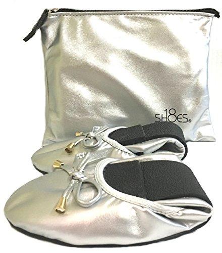 Shoes8teen Womens Foldable Ballerina Ballet Flats W/Bow 15 Colors Silver 1180 3xd0zkzcR
