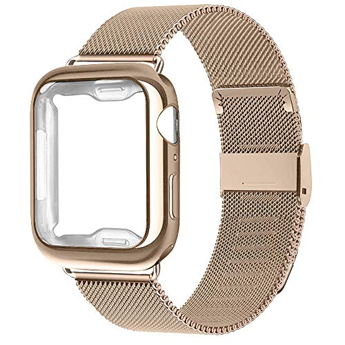 RUOQINI Compatible for Apple Watch Band with Case,Stainless Steel Loop Replacement Wristband and TPU Case for Series 4/3/2/1[Gold Band with Gold Case 42MM]