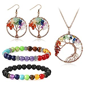Adramata Tree of Life Necklace Earrings Chakra Bracelets Set for Women Girls Oil Diffuser Crystal Gemstone Jewelry Set Gifts